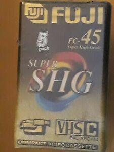 FUJI EC45 SUPER SHG VHS C  COMPACT VIDEO  CASSETTES PACK OF FIVE GRAB A BARGAIN