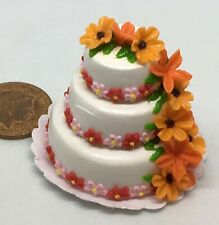 1:12 Scale Decorated 3 Tier Wedding Cake Tumdee Dolls House Miniature Food ZD