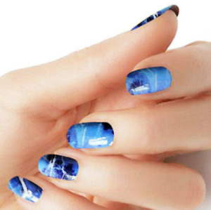 Blue Marble color wraps real nail polish strips M56 street art Free Shipping