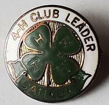 4H Leadership Lapel Pin Vintage Readers Digest Youth Organization Clover Badge
