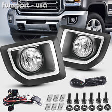 for 2015 2016 GMC Sierra 2500 HD Front Bumper Fog Lights Lamps+Bulbs+Switch PAIR