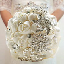 Handmade Ivory Rose Flower Silk Crystal Rhinestone Pearl Wedding Bridal Bouquet