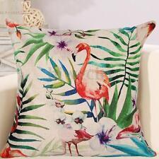 Tropical Palm Flamingo Pillowcase Cotton Linen Throw Pillow Case Cushion Cover