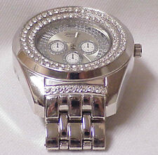 ICED OUT HIP HOP MENS GENEVA PLATINUM SILVER BLING BLING METAL BAND WRISTWATCH
