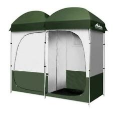 Weisshorn Double Camping Shower Toilet Tent Outdoor Portable Change Room - Green
