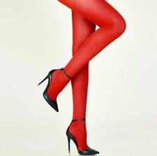 "Aristoc Supersoft Rib Tights Ruby Red One Size To 42"" Fine Rib Winter Tights"