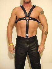 Custom Made 3 RING, 100% BLACK ITALIAN LEATHER HARNESS GAY WEAR