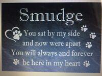 Personalised Slate Pet Memorial sign / plaque,Dog, Cat, Rabbit