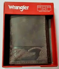 Wrangler Men's Cocoa Brown Trifold Smooth Leather Design Trim Wallet in Box