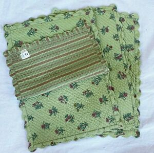 """4x Williams Sonoma India Floral Print Moss Green Placemats 13""""x20"""""""