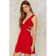 nasty gal red hot date cut out red dress small new with tags