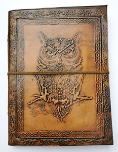 Wise Owl leather cord journal travel Book of Shadows steampunk notebook gothic