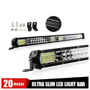 20inch 360W Dual Row LED Work Light Bar Offroad Driving Combo Flood Spot 4WD 4X4