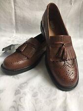 French Shriner Men Newcastle Brown Leather Slip On Tassel Loafer Dress Shoe 9M
