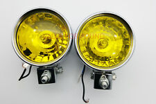UNIVERSAL ROUND FRONT DOUBLE HALOGEN SPOT LIGHT FOR TRUCK VAN SUV 12V YELLOW 2PC