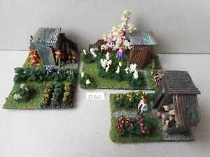 OO Gauge Allotment Diorama Garden Model Railway Scene X3 New.