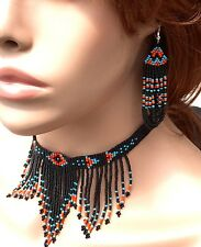 New Women Handcrafted Beaded Black Fashion Necklace Hook Earring Set S54/1