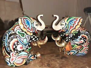 2x großer Toms Drag Elefant (Figur Tom Drag Kunst Skulptur Asien Indien Deko)