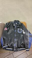INDIANAPOLIS COLTS FAUX LEATHER ZIP UP BLACK COAT JACKET AFC HORSESHOE MEN'S XL