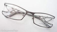 Brille Fassung seitlich randlos Designerbügel Metall Damen silber lunettes GR M