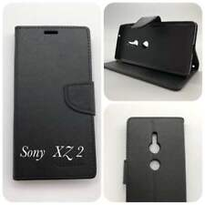 Black Mooncase Stand TPU in Wallet Case Cover For Sony Xperia XZ 2  Free SP