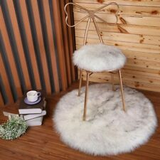 Faux fur sheepskin cushion/ seat pad in white grey flecks