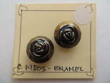 1980s Vintage Sm Brass-frame Black Enamel Rose Dress Jacket Craft Buttons-19mm