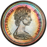 SP67 1971 $1 Canada Silver British Columbia Dollar, PCGS Secure- Rainbow Toned