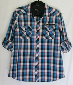 Eighty Eight Platinum Men's Size X-Large Button Up Shirt Red, White & Blue Plaid
