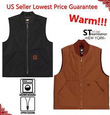 Men Sandstone Canvas Quilted Thermal Lined Duck Vest Industrial Winter Work Vest