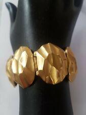 Vintage YVES SAINT LAURENT YSL GOLD Plated HINGED HAMMERED BRACELET BANGLE