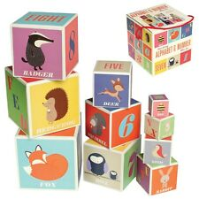 dotcomgiftshop SET OF 10 WOODLAND ANIMALS ALPHABET & NUMBER STACKING BLOCKS