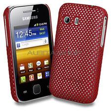 Funda Perforada Samsung Galaxy Y s5360 Carcasa Dura Roja Estilo Rejilla