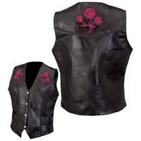 """Gilet jacket blouson sans manche en cuir """" Roses Brodés """" S à 5XL biker country"""
