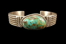 Sterling Silver and Turquoise Band Bracelet - Navajo Handmade