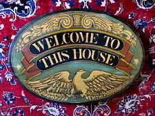 """Beautiful Antique Colonial WELCOME Wood Sign Vintage 23.5"""" x 17"""" Nice Old Wood"""