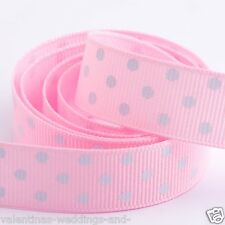 Full Roll 10m Polka Dot Grosgrain Ribbon - Pale Pink - Crafts - Sewing