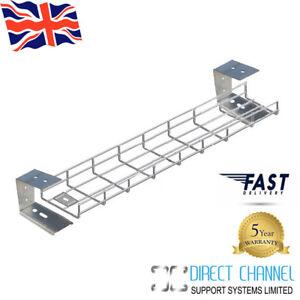 Premier Under Desk Cable Tray Basket w/ C Bracket & Fixings 40cm/60cm/80cm/100cm