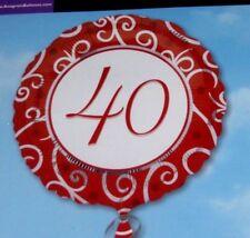 """Ruby Anniversario Di Matrimonio 18"""" Foil Balloon di 40 anni 40th ANNIVERSARIO-Spirali"""