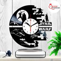 Star Wars Vinyl Clock Darth Vader Wall Art Best Yoda Gift Record Decor Death R2