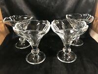 Set of 4 Vintage RASTAL Clear Glass Pedestal Ice Cream Parfait Glasses