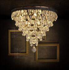 Vintage RH Flush Mount Crystal & Iron E14 Light Ceiling Illumination Chandelier