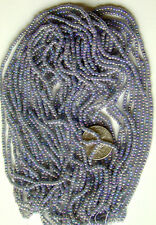 "Pewter Blue Iris AB Vintage Czech Glass Seed Beads LONG Full 20"" Hank (9331625)"