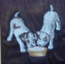 1940 Sealyham Cesky Fox Terrier dog oil painting Gussy