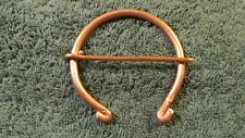 "Eastern Woodlands Copper Wire 2 1/4"" Celtic Penannular Blanket Brooch Pin 6ga."