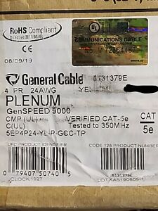 General Cable GenSPEED 5000 24/4P Cat5E UTP Plenum Network Cable Yellow /100ft