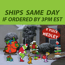 8 Pc Grinch's Medley Collection-Stealing Christmas Lights - Yard Art Decoration