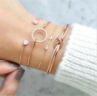 4pcs/Set Bohemian Women Gold Silver Bracelet Arrow Knotted Opening Bangle