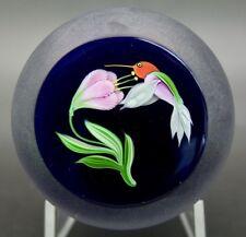 "CORREIA Hummingbird & Flower Art Glass Limited Edition Paperweight,Apr 3""Wx2.7""H"