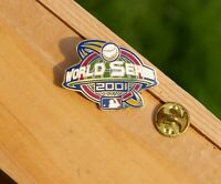 "World Series 2001 MLB Baseball Gold Tone Meal & Enamel 1 1/4"" Lapel Pin Pinback"